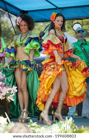 WARSAW, POLAND, June 8: Unidentified Carnival dancer on the stage on XII Brazilian Festival on June 8, 2014 in Warsaw, Poland. - stock photo