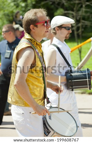 WARSAW, POLAND, June 8: Unidentified Carnival musician on the parade on XII Brazilian Festival on June 8, 2014 in Warsaw, Poland. - stock photo