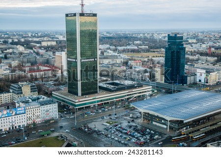 WARSAW, POLAND - MARCH 16: Aerial view with Marriott Hotel and Warsaw Central railway station on March 16, 2014 in Warsaw city centre - stock photo