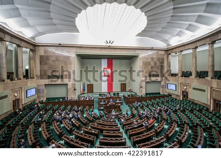 WARSAW, POLAND - MARCH 4, 2015. Members of Parliament during session of the lower house of the Polish parliament called Sejm - stock photo