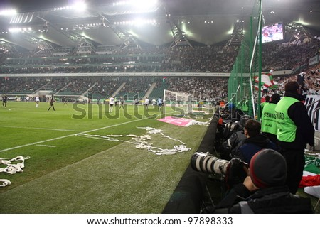WARSAW, POLAND - MARCH 16: Pepsi Arena during the Warsaw's football derby match between Legia Warsaw vs Polonia Warsaw on March 16, 2012 in Warsaw, Poland. Final results: 0:0 - stock photo