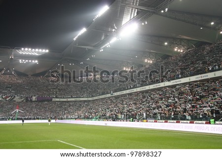 WARSAW, POLAND - MARCH 16: Pepsi Arena stadium during the Warsaw's football derby match between Legia Warsaw vs Polonia Warsaw on March 16, 2012 in Warsaw, Poland. Final results: 0:0 - stock photo