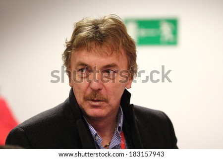 WARSAW, POLAND - MARCH 4: Zbigniew Boniek chairman of the Polish Football Association before a press conference before friendly match of Poland vs. Scotland on March 5, 2014 in Warsaw, Poland.  - stock photo