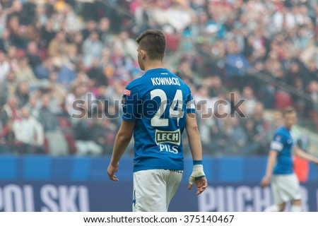 WARSAW, POLAND - MAY 02, 2015: Dawid Kownacki, Lech Poznan midfielder during Polish Cup final football match between Legia Warsaw and Lech Poznan in Warsaw. - stock photo
