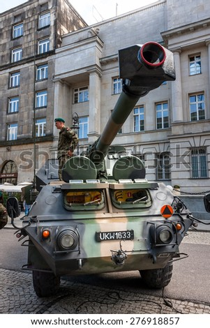 WARSAW, POLAND - MAY 08, 2015: Gun howitzer Dana 152, artillery system, self propelled vehicle, front view. 70th Anniversary of End of WW II - stock photo