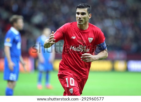 WARSAW, POLAND - MAY 27, 2015: Jose Antonio Reyes of FC Sevilla in action during UEFA Europa League Final game against FC Dnipro at Warsaw National Stadium - stock photo