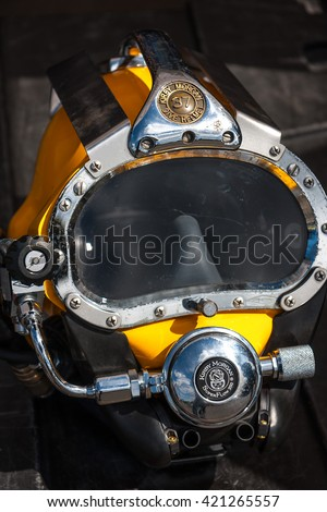 WARSAW, POLAND - MAY 08, 2015: Kirby Morgan 37 Diving Helmet for diving in biologically contaminated water at  public celebrations of 70th Anniversary End of World War II - stock photo