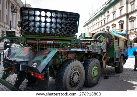 WARSAW, POLAND - MAY 08, 2015: Polish Artillery, Langusta WR40 rocket launcher, 40 round launcher unit. 70th Anniversary of End of World War II - stock photo