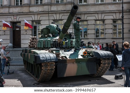 WARSAW, POLAND - MAY 08, 2015: PT 91 Polish tank at the 70th anniversary of End of WW II - stock photo