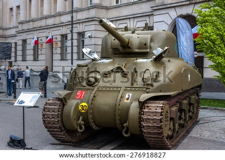 WARSAW, POLAND - MAY 08, 2015: Sherman tank, Canadian versionof M4, used during  World War II. 70th Anniversary of End of WW II - stock photo