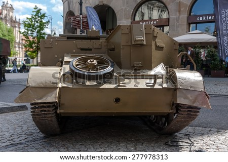 WARSAW, POLAND - MAY 08, 2015: T 16 Universal Carrier, Bren Gun Carrier, light armored tracked vehicle, Second World War. Public celebrations. End of WW II 70th Anniversary - stock photo