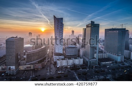 WARSAW, POLAND - NOVEMBER 3, 2015. Aerial view with Golden Terraces, Zlota 44 skyscraper, Warsaw Towers, InterContinental Hotel, Warsaw Financial Center in Warsaw - stock photo