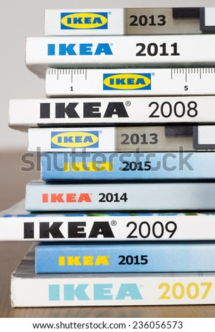 Warsaw, Poland - November 30, 2014: Collection of IKEA Catalogs in Warsaw, Poland. Ikea is the world's largest furniture retailer, founded in Sweden - stock photo