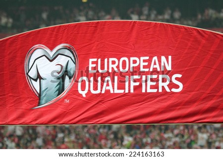 WARSAW, POLAND - OCTOBER 11, 2014: European qualifiers flag on the stadium before the UEFA EURO 2016 qualifying match of Poland vs. Germany. Poland beat Germany 2:0 - stock photo