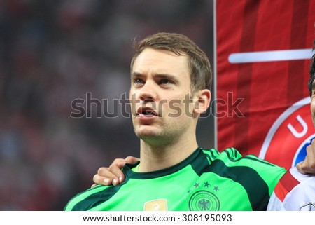 WARSAW, POLAND - OCTOBER 11, 2014: Manuel Neuer (German team and Bundesliga club Bayern Munich goalkeeper) before the UEFA EURO 2016 qualifying match of Poland vs. Germany. Poland beat Germany 2:0 - stock photo