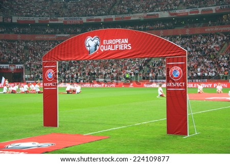 WARSAW, POLAND - OCTOBER 11, 2014: National Stadium in Warsaw before the UEFA EURO 2016 qualifying match of Poland vs. Germany. Poland beat Germany 2:0. The match was watched by over 56,000 spectators - stock photo