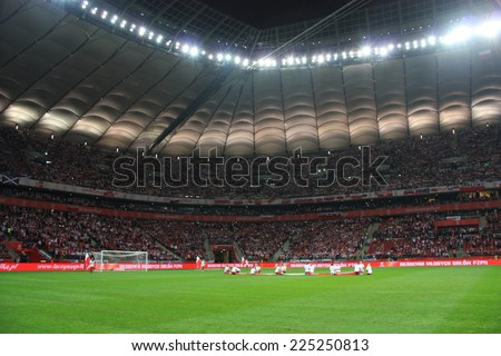 WARSAW, POLAND - OCTOBER 14, 2014: View of National Stadium in Warsaw before the UEFA EURO 2016 qualifying match of Poland vs. Scotland  - stock photo