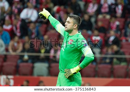 WARSAW, POLAND - SEPTEMBER 7, 2015: Lukasz Fabianski (Poland) during the EURO 2016 qualification match between Poland and Gibraltar at the National Stadium on September 7, 2015 in Warsaw, Poland.  - stock photo
