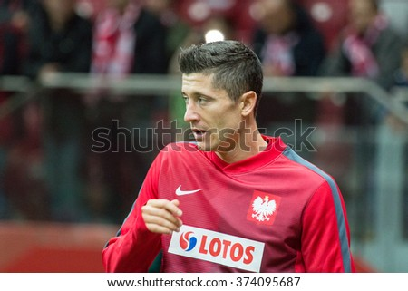 WARSAW, POLAND - SEPTEMBER 7, 2015: Robert Lewandowski (Poland) before the EURO 2016 qualification match between Poland and Gibraltar at the National Stadium on September 7, 2015 in Warsaw, Poland.  - stock photo