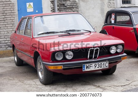WARSAW - September 28: Old BMW car on Oldtimers meeting.September 28, 2013 in Warsaw, Poland. - stock photo