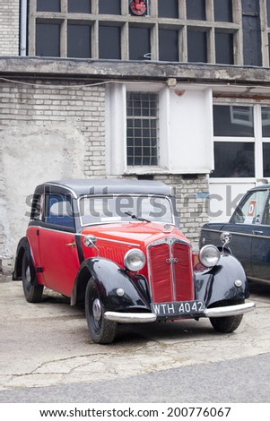 WARSAW - September 28: Old car DKW on Oldtimers meeting.September 28, 2013 in Warsaw, Poland. - stock photo