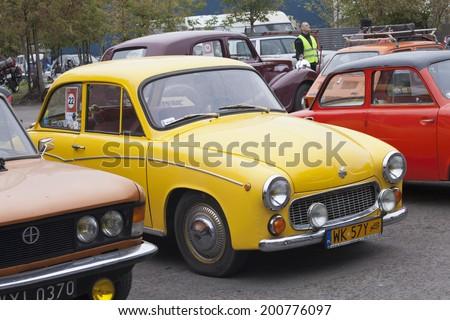 WARSAW - September 28: Old polish car Syrena on Oldtimers meeting.September 28, 2013 in Warsaw, Poland. - stock photo