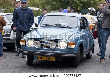 WARSAW - September 28: Old Saab car on Oldtimers meeting.September 28, 2013 in Warsaw, Poland. - stock photo