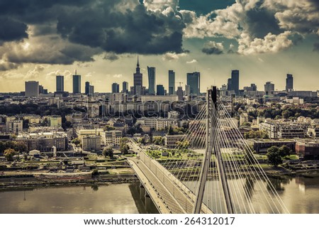 Warsaw skyline behind the bridge vintage view, Poland - stock photo