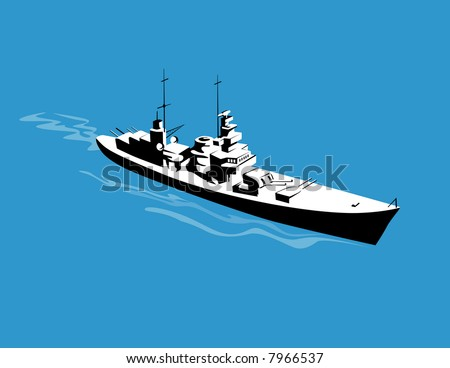 Warship steaming past as viewed from above - stock photo