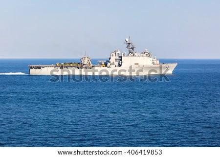 Warship supplier underway. - stock photo