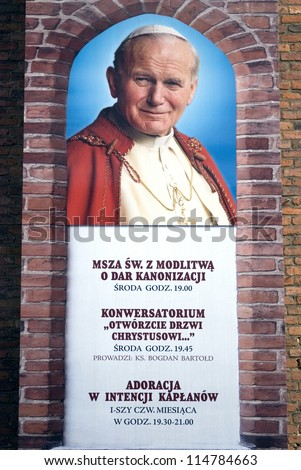 WARSZAWA, POLAND - OCTOBER 2: Late Pope John Paul II at October 2, 2012, Warszawa, Poland. The Polish-born pope was the second-longest serving pope in history after Saint Peter. - stock photo