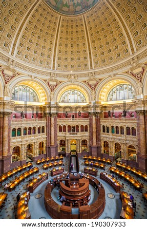 WASH DC-APRIL 10: Interior of the Library of Congress in DC on April 10, 2014. It moved to Washington in 1800, after sitting for eleven years in the temporary national capitals of New York and Philadelphia. - stock photo