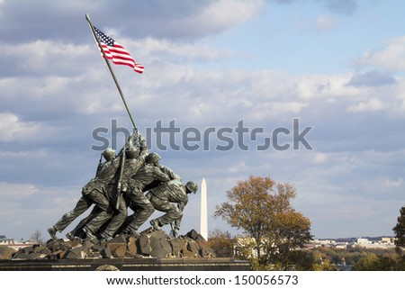 WASH DC - CIRCA: Iwo Jima Memorial circa SEP 2011 in Wash DC, USA. Memorial dedicated to all personnel of United States Marine Corps who have died in defense of their country since 1775. - stock photo