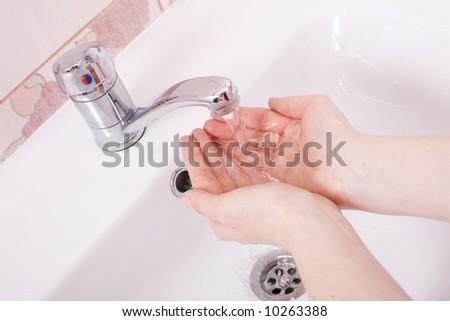 Wash your hands! / bathroom - stock photo
