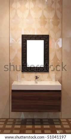 washbowl with mirror in bathroom - stock photo