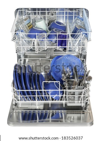 Washed dishes in the dish washer machine - stock photo