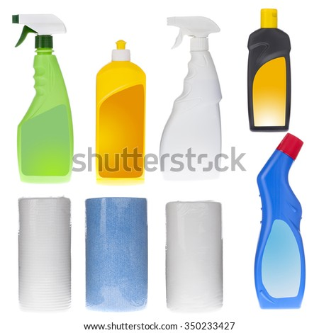 Washing and cleaning equipment. Set of plastic bottles and twisted towels isolated on white - stock photo