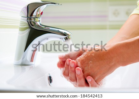 Washing Hands. Cleaning Hands. Hygiene  - stock photo
