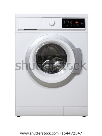 Washing machine isolated on the white background with clipping path. - stock photo