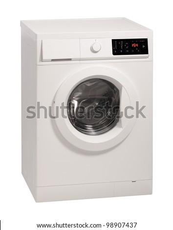 Washing machine isolated over white background. - stock photo