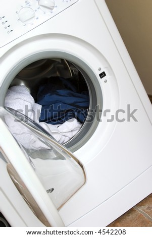 Washing machine open and ready for loading! - stock photo