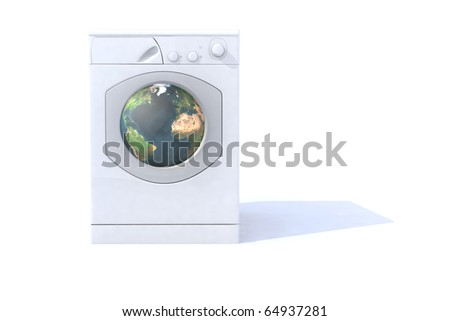 washing machine that cleans the world - stock photo