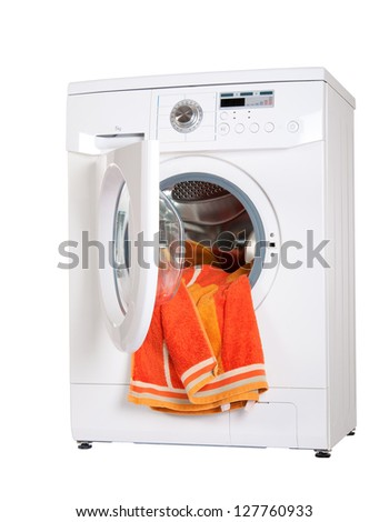 washing machine with a bright, colored wash laundry. isolate - stock photo