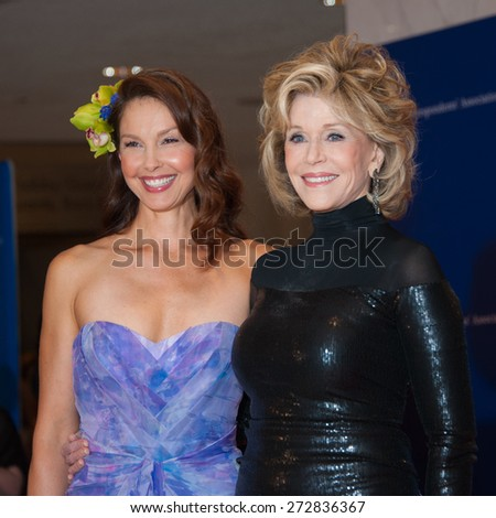 WASHINGTON APRIL 25 - Ashley Judd and Jane Fonda pose together at the White House Correspondents' Association Dinner April 25, 2015 in Washington, DC - stock photo