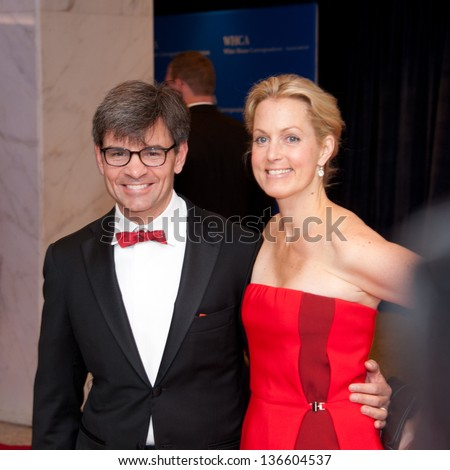 WASHINGTON - April 27:  George Stephanopoulos and Ali Wentworth arrive at the White House Correspondents Dinner on April 27, 2013 in Washington DC. - stock photo