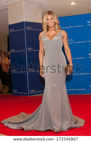WASHINGTON APRIL 25 â?? Laverne Cox arrives at the White House Correspondentsâ?? Association Dinner April 25, 2015 in Washington, DC - stock photo