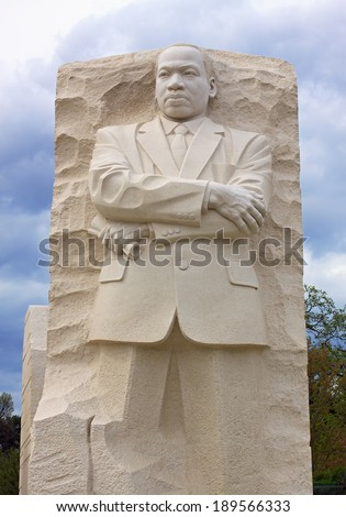 "Washington - April 14 : The Martin Luther King Memorial on April 14, 2014 in Washington DC. This monument pays tribute to the civil rights leader near where he delivered his ""I Have a Dream"" speech. - stock photo"