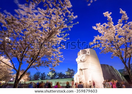 WASHINGTON - APRIL 12, 2015: The memorial to the civil rights leader Martin Luther King, Jr. during the spring season in West Potomac Park. - stock photo