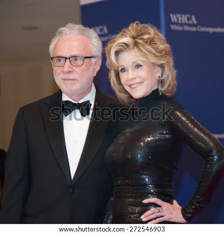 WASHINGTON APRIL 25 â?? [Wolf Blitzer and Jane Fonda arrive at the White House Correspondentsâ?? Association Dinner April 25, 2015 in Washington, DC - stock photo