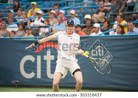 WASHINGTON â?? AUGUST 4: John-Patrick Smith (AUS) falls to Lleyton Hewitt (AUS, not pictured) at the Citi Open tennis tournament on August 4, 2015 in Washington DC  - stock photo